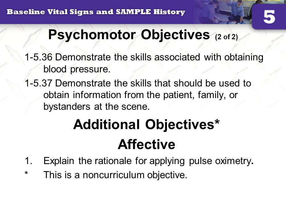 Psychomotor Objectives (2 of 2)