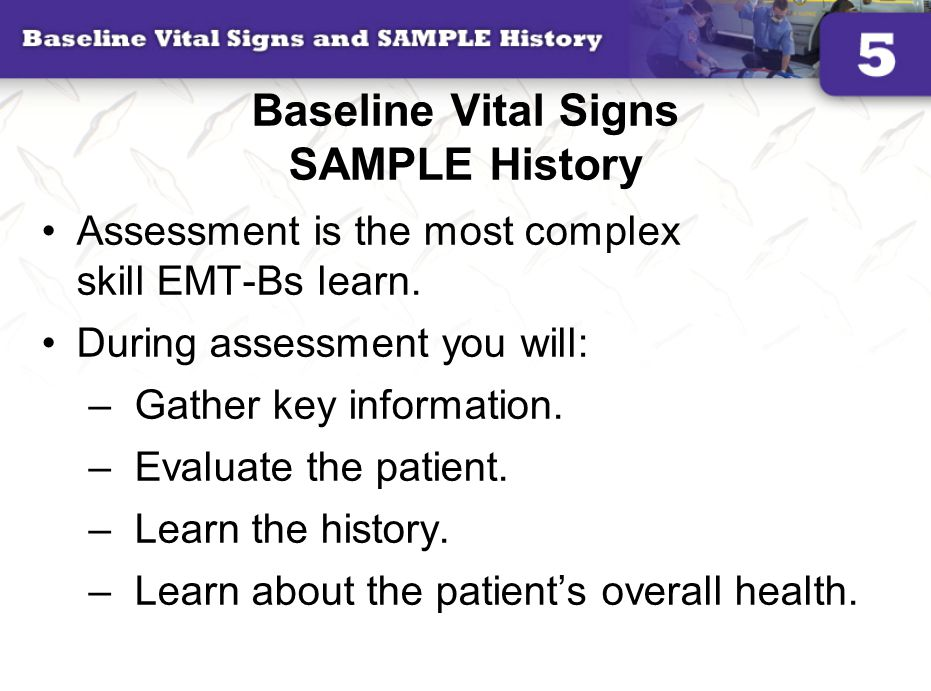 Baseline Vital Signs SAMPLE History