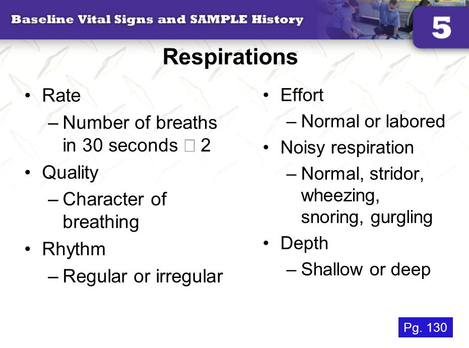 Respirations Rate Number of breaths in 30 seconds ´ 2 Quality