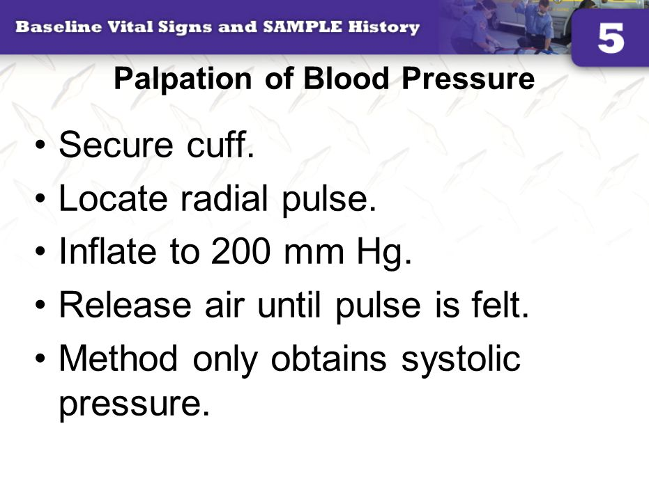 Palpation of Blood Pressure