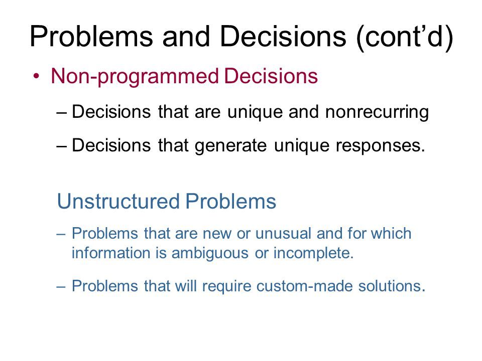 Problems and Decisions (cont'd)
