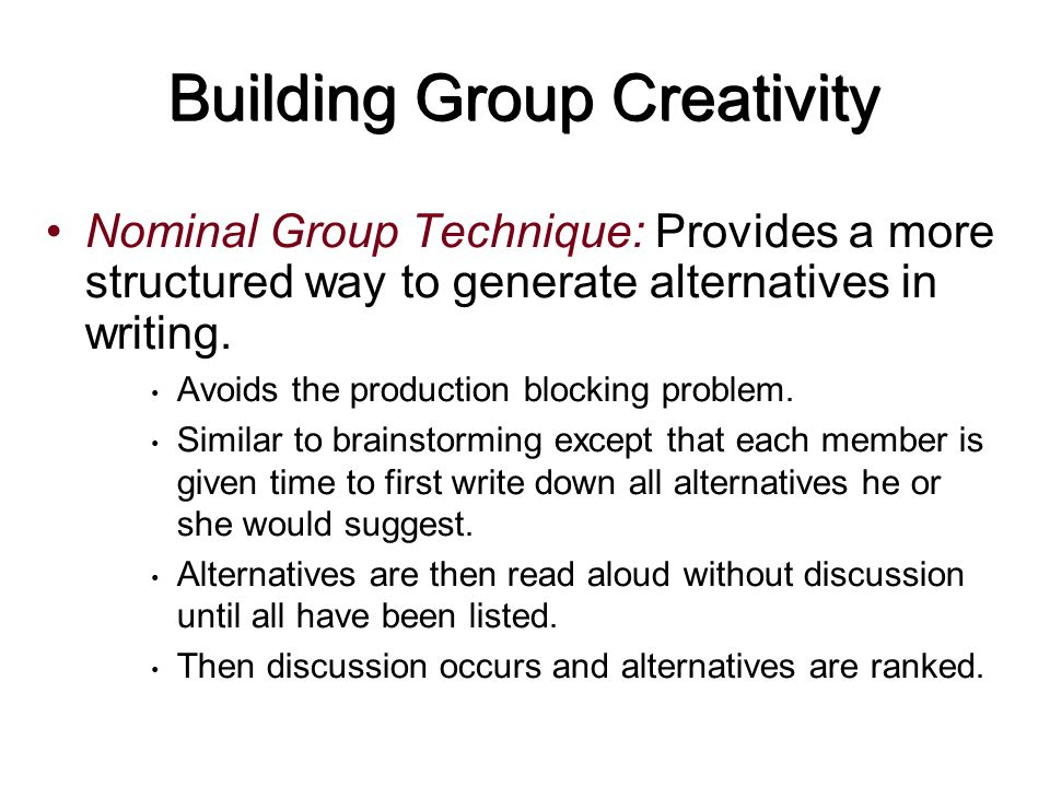 Building Group Creativity