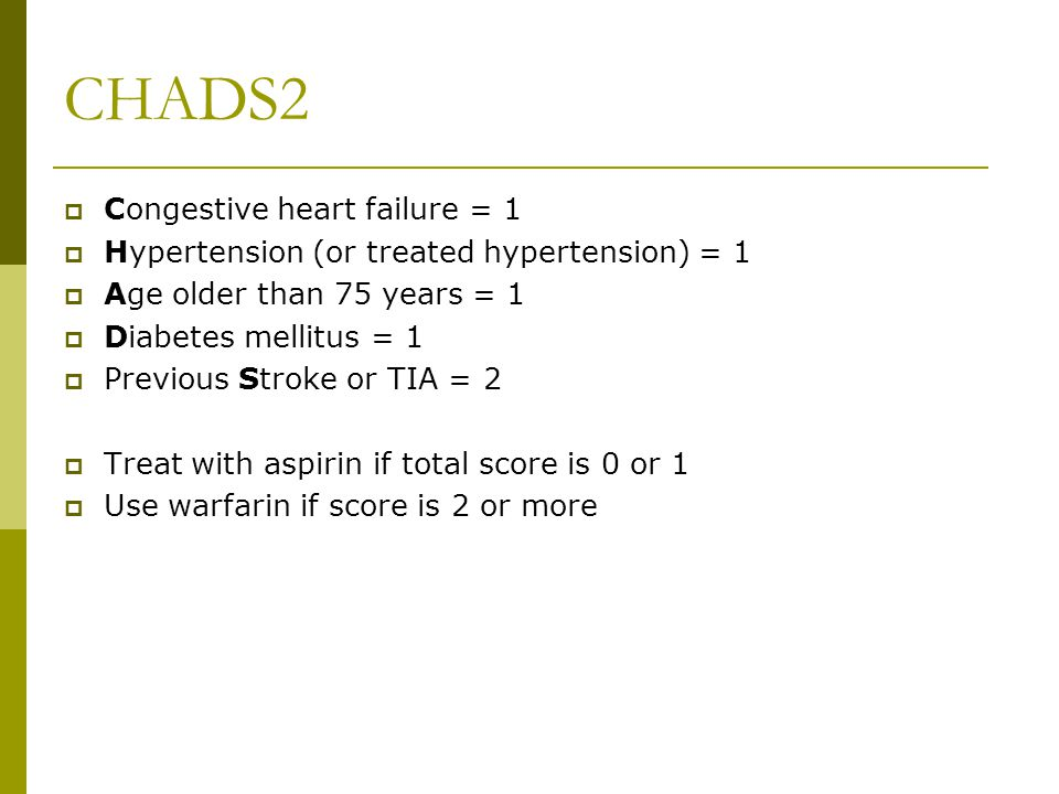 CHADS2 Congestive heart failure = 1