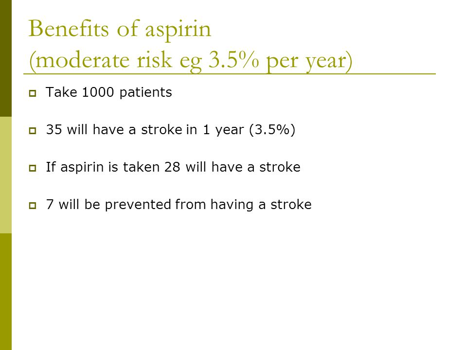 Benefits of aspirin (moderate risk eg 3.5% per year)