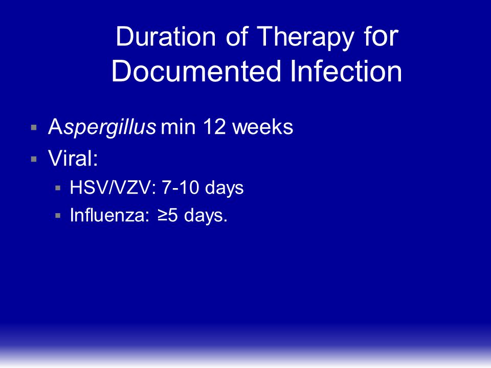 Duration of Therapy for Documented Infection