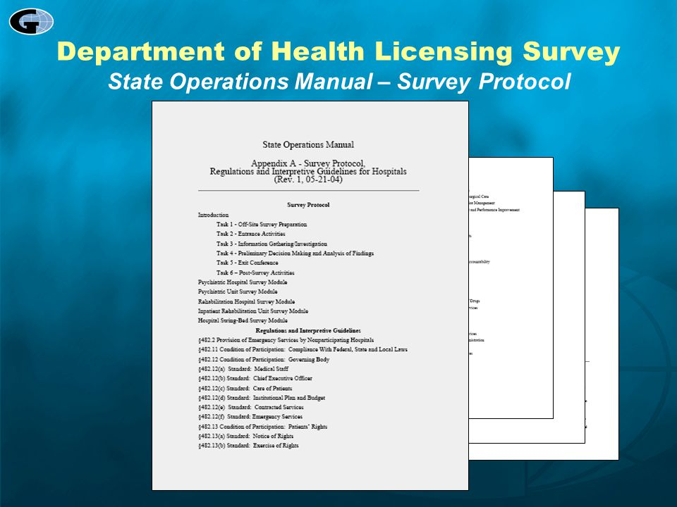 Department of Health Licensing Survey State Operations Manual – Survey Protocol