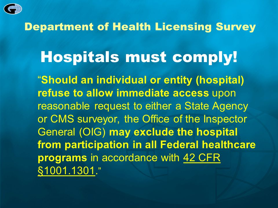 Department of Health Licensing Survey