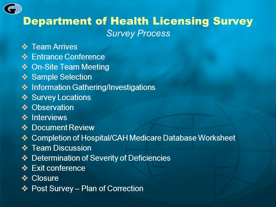 Department of Health Licensing Survey Survey Process
