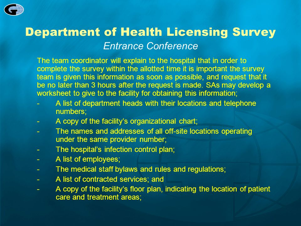 Department of Health Licensing Survey Entrance Conference