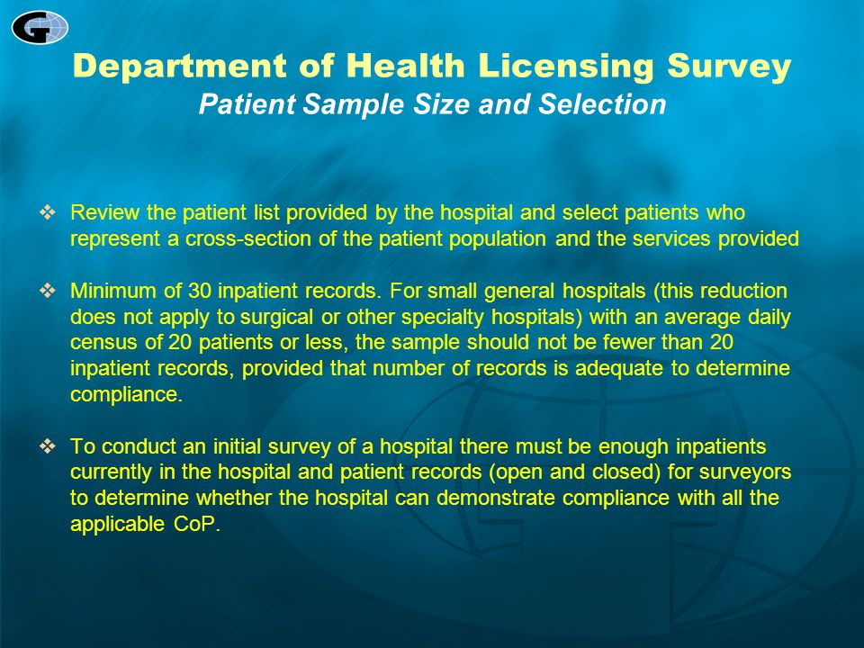 Department of Health Licensing Survey Patient Sample Size and Selection