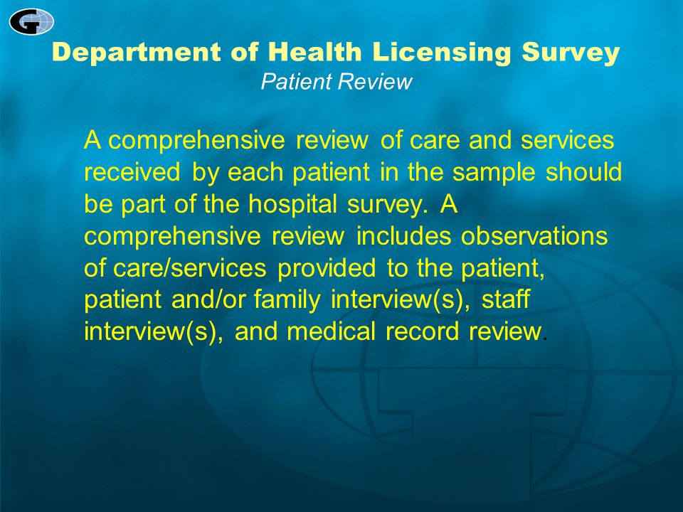 Department of Health Licensing Survey Patient Review