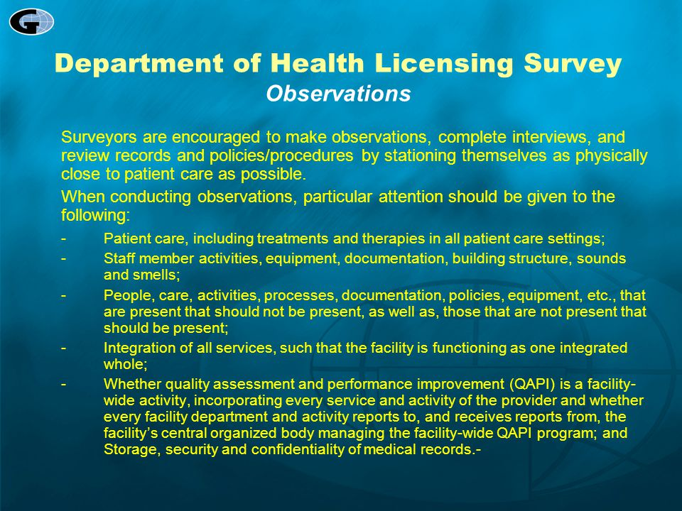 Department of Health Licensing Survey Observations