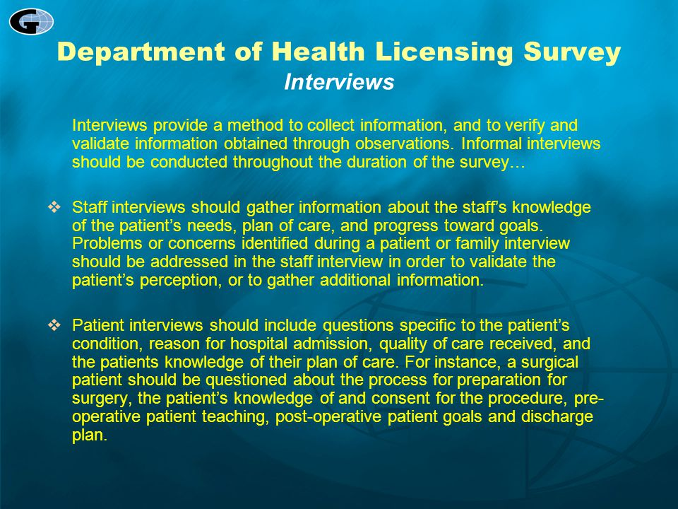 Department of Health Licensing Survey Interviews