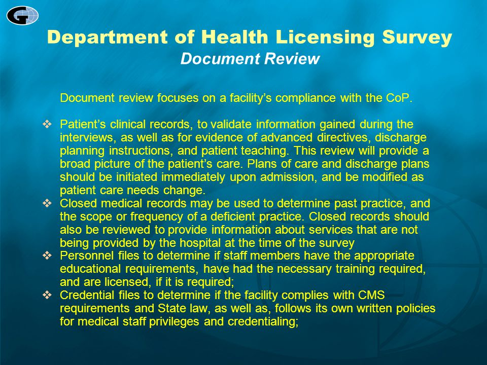 Department of Health Licensing Survey Document Review