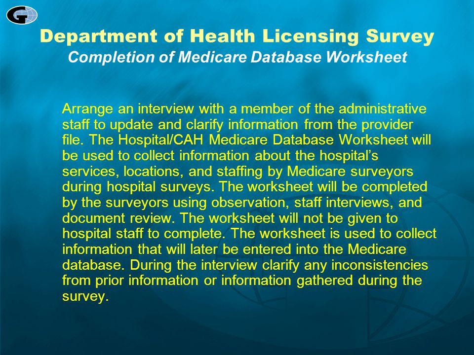 Department of Health Licensing Survey Completion of Medicare Database Worksheet