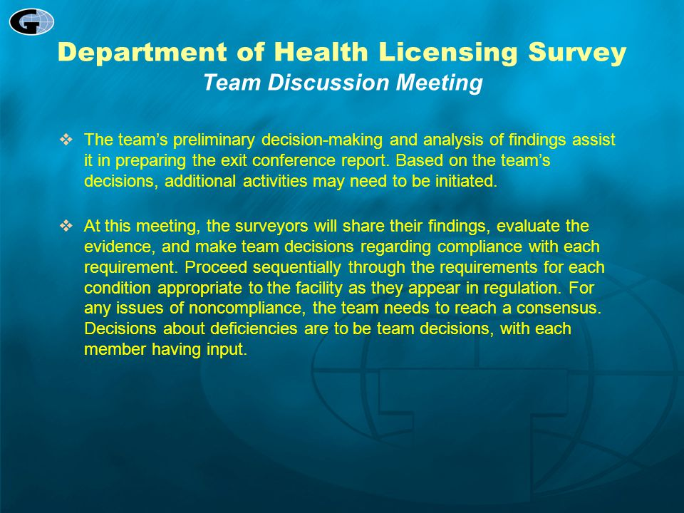 Department of Health Licensing Survey Team Discussion Meeting