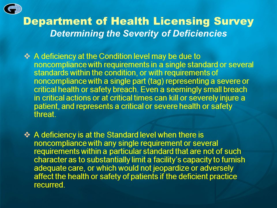 Department of Health Licensing Survey Determining the Severity of Deficiencies