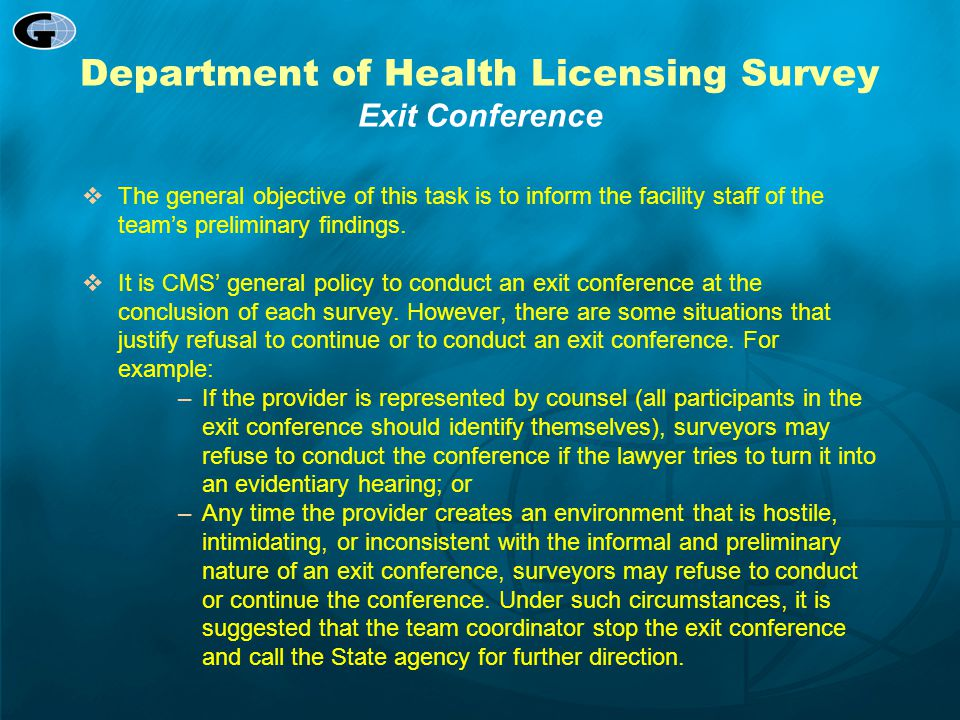 Department of Health Licensing Survey Exit Conference