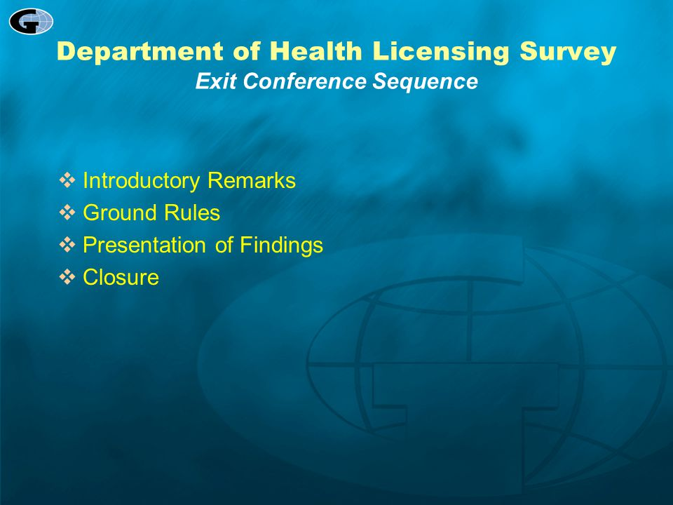 Department of Health Licensing Survey Exit Conference Sequence