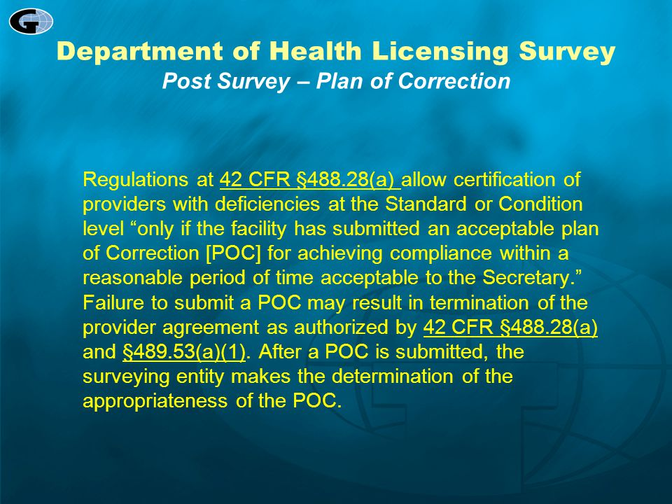 Department of Health Licensing Survey Post Survey – Plan of Correction