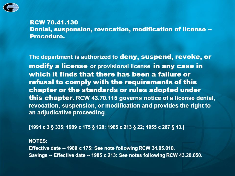 RCW 70.41.130 Denial, suspension, revocation, modification of license -- Procedure.