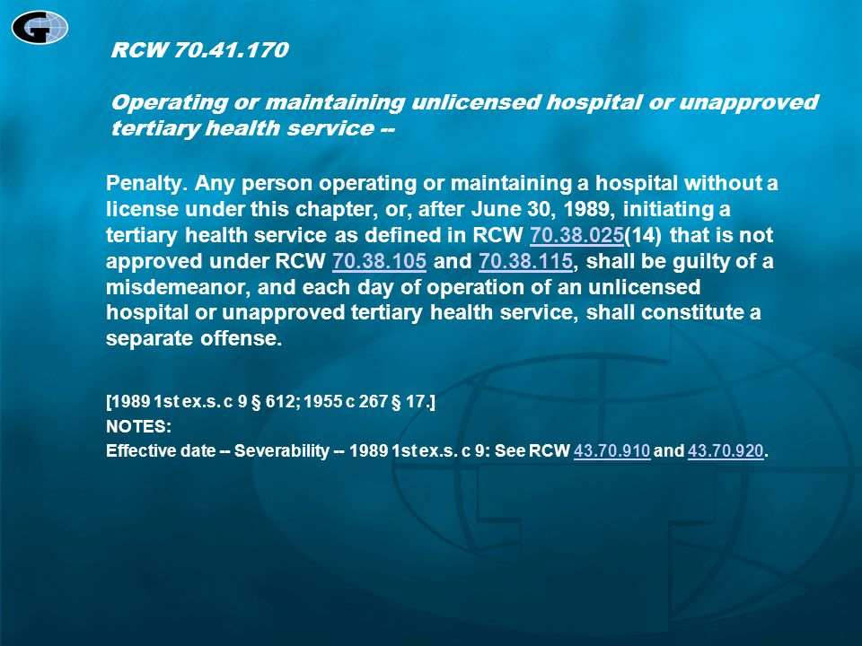 RCW 70.41.170 Operating or maintaining unlicensed hospital or unapproved tertiary health service --