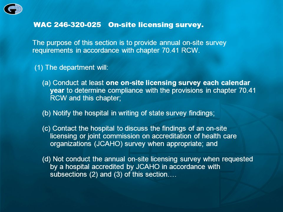 WAC 246-320-025 On-site licensing survey.
