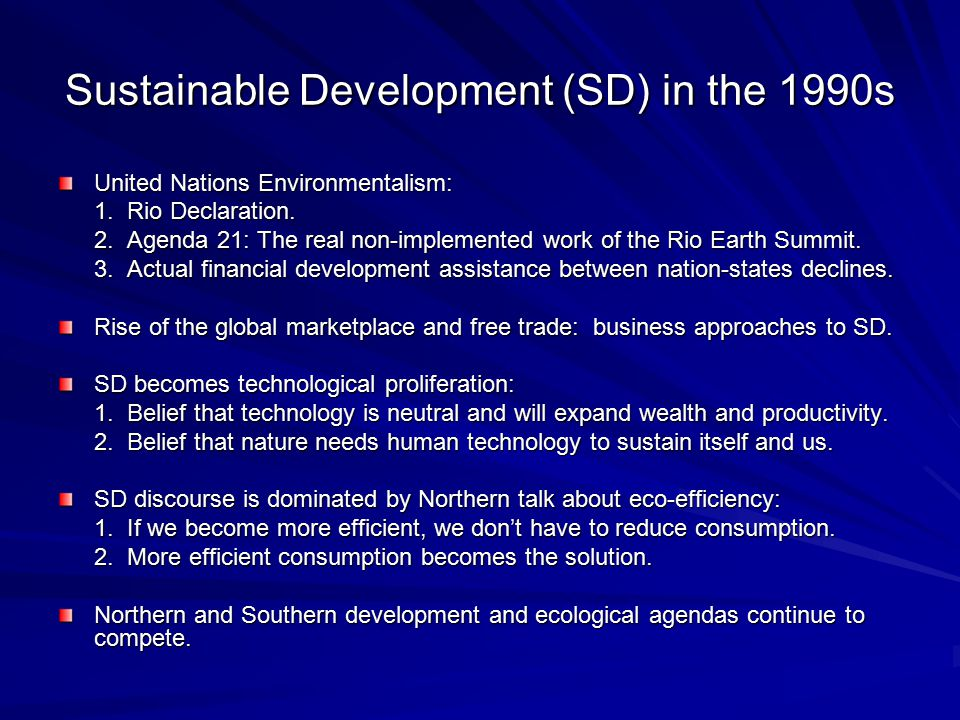 Sustainable Development (SD) in the 1990s