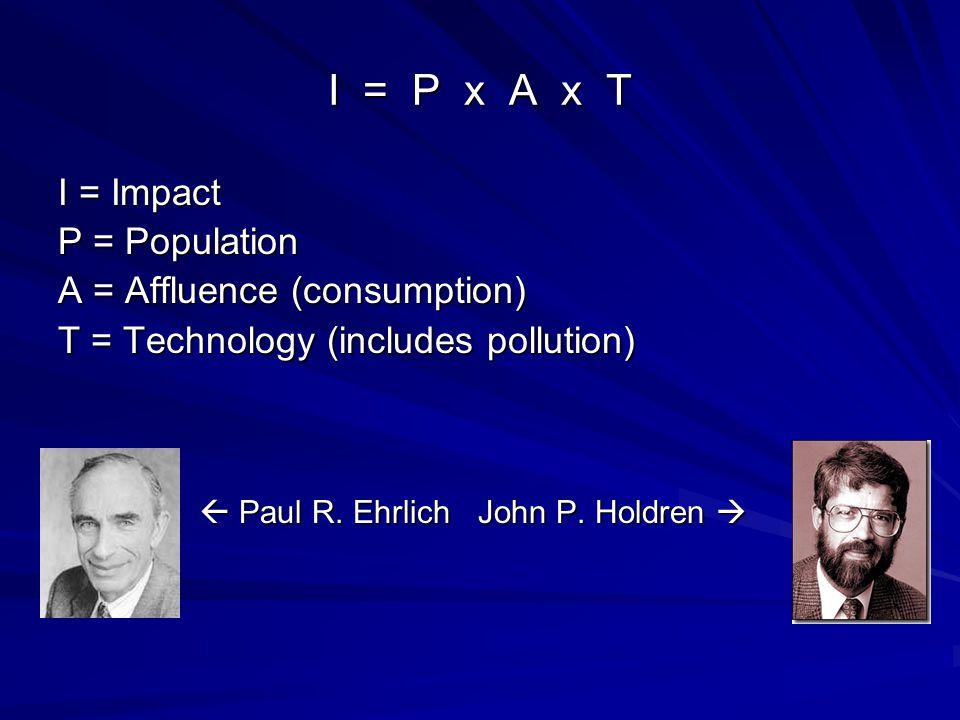 I = P x A x T I = Impact P = Population A = Affluence (consumption)