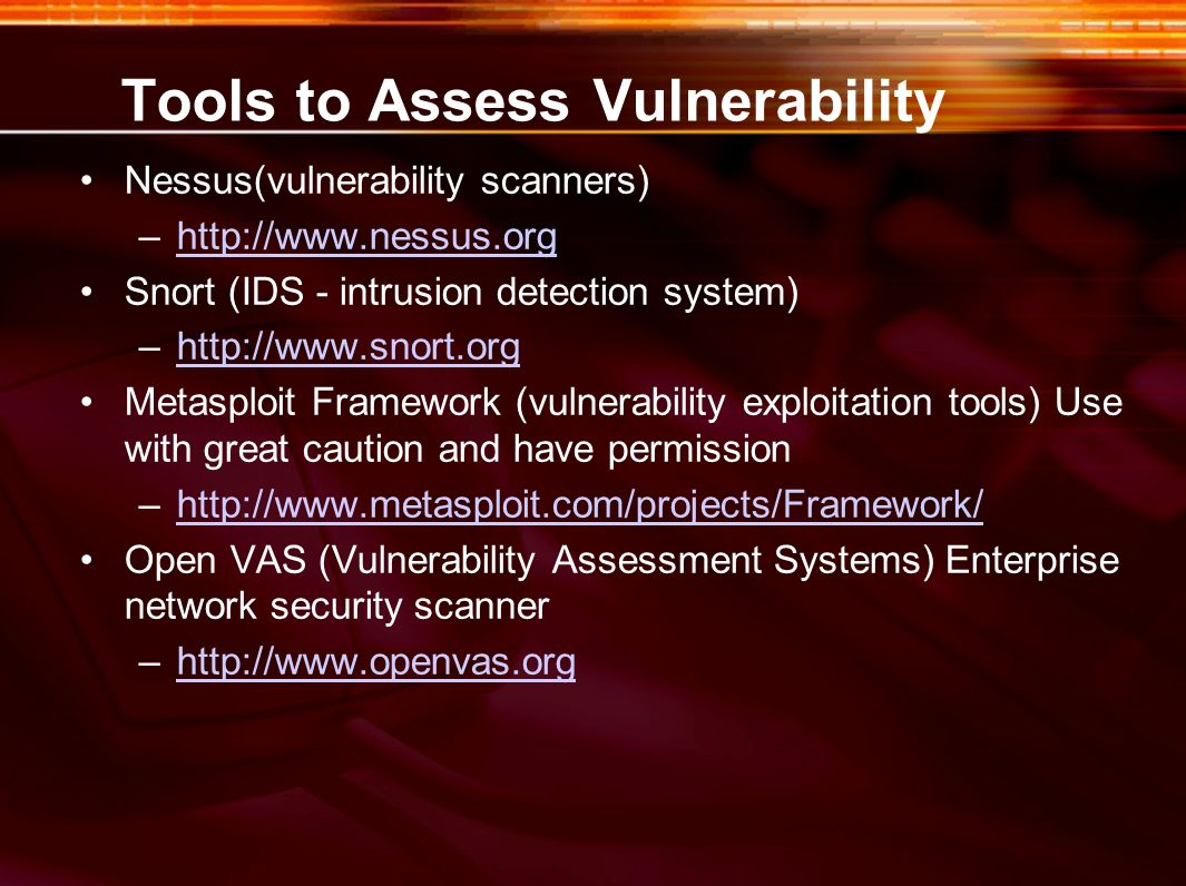 Tools to Assess Vulnerability