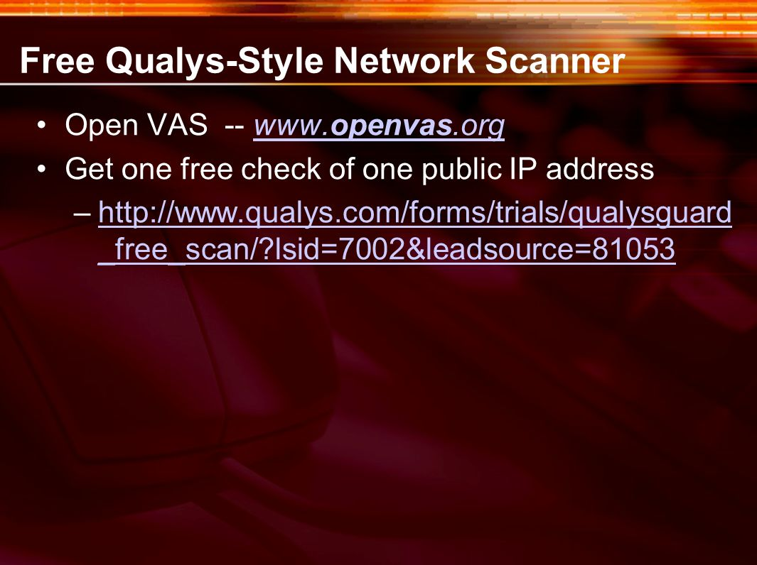 Free Qualys-Style Network Scanner