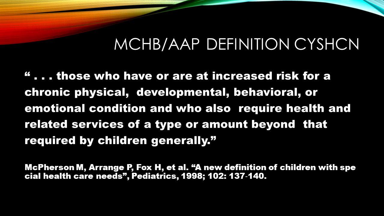 MCHB/AAP definition CYSHCN