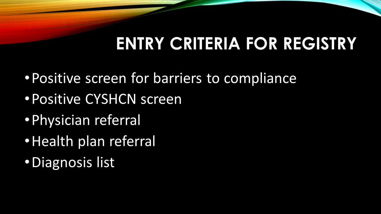 Entry Criteria for Registry