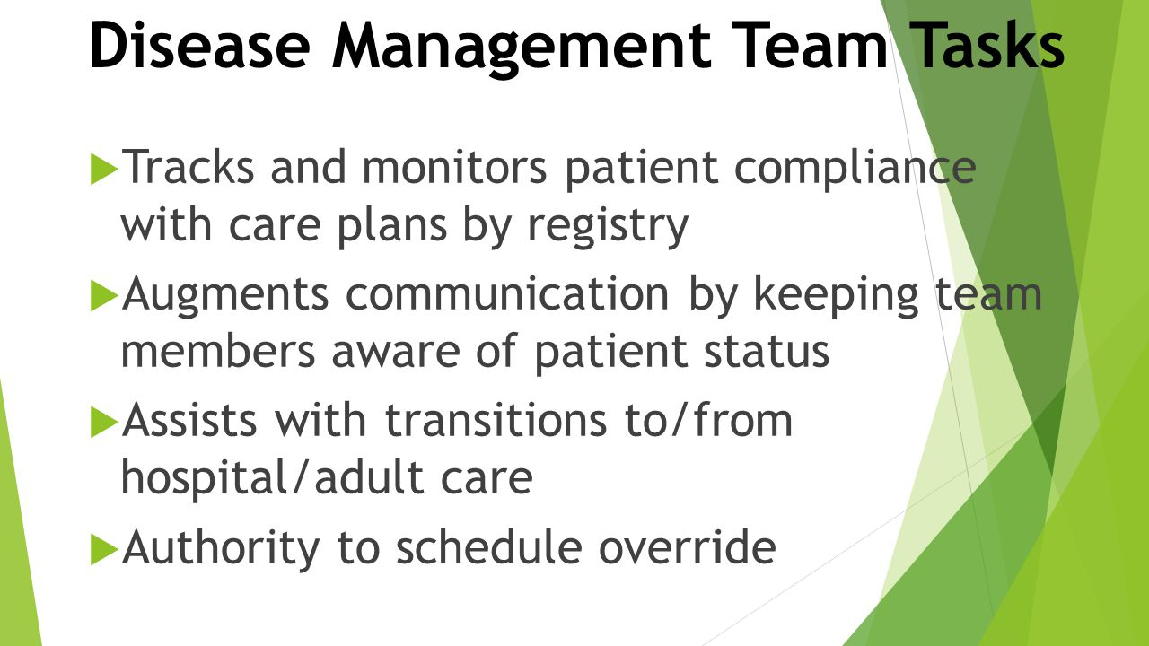 Disease Management Team Tasks