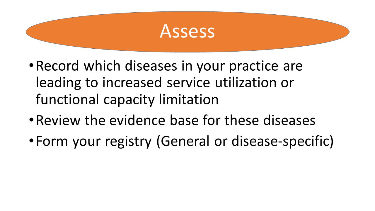Assess Record which diseases in your practice are leading to increased service utilization or functional capacity limitation.