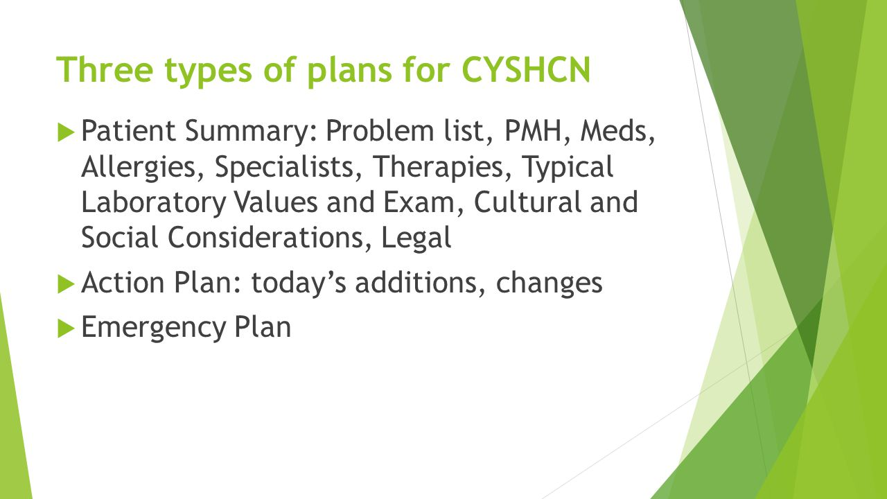 Three types of plans for CYSHCN