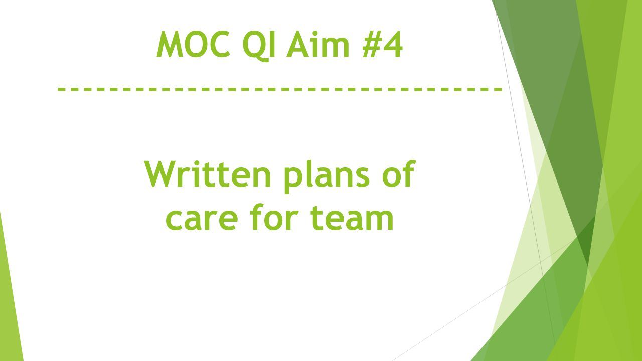MOC QI Aim #4 ---------------------------------- Written plans of care for team