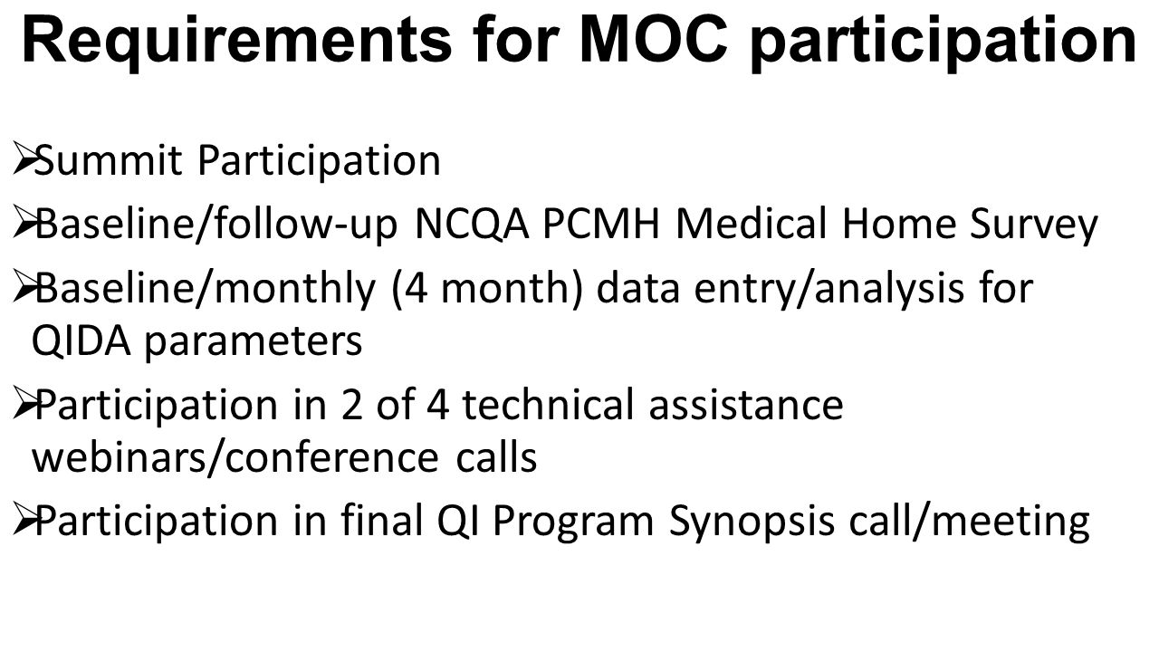 Requirements for MOC participation