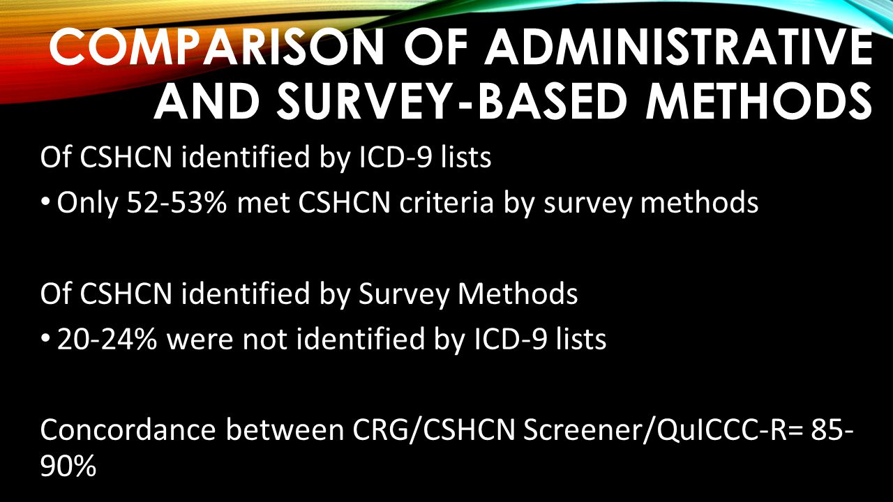 Comparison of Administrative and Survey-based methods