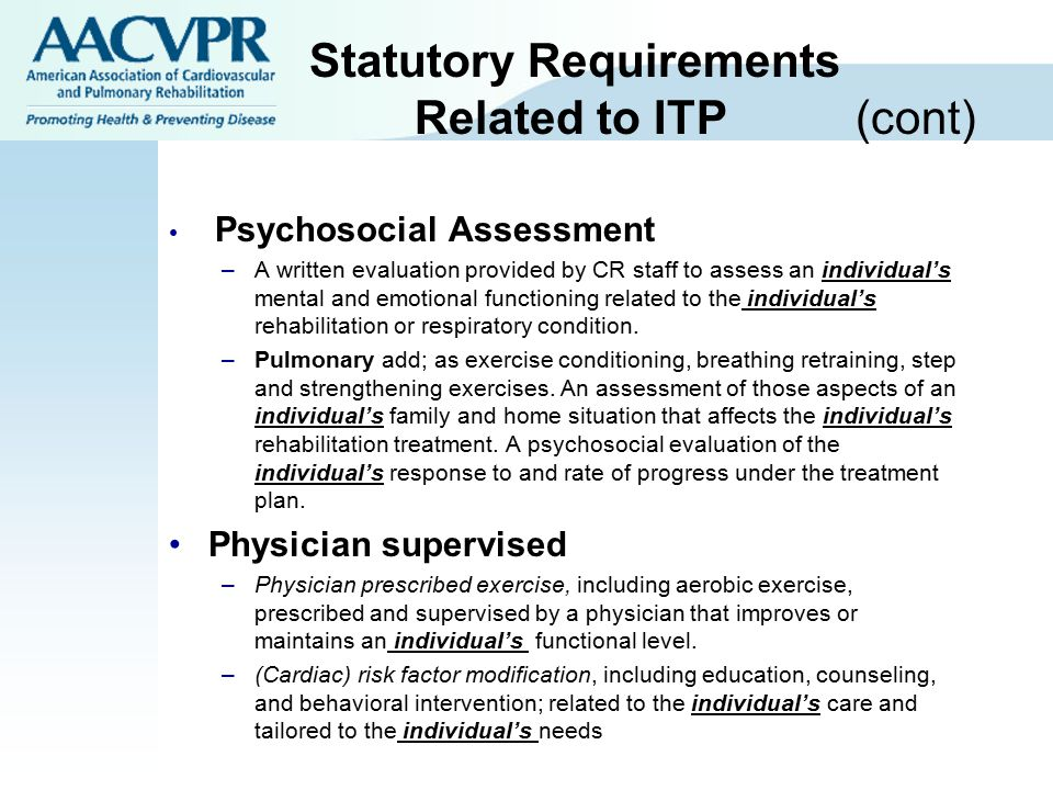 Statutory Requirements Related to ITP (cont)