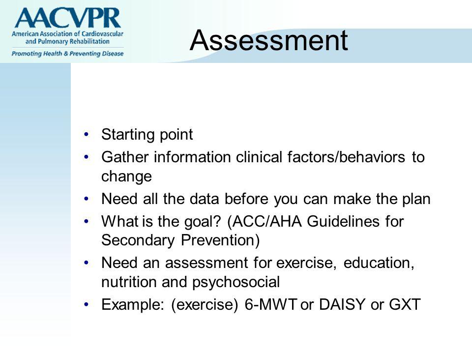Assessment Starting point