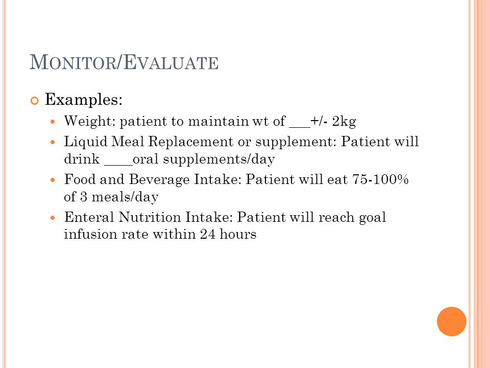 Monitor/Evaluate Examples: