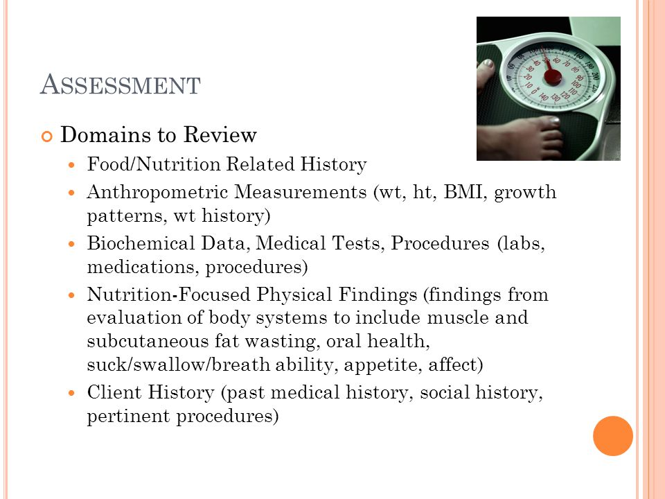 Assessment Domains to Review Food/Nutrition Related History