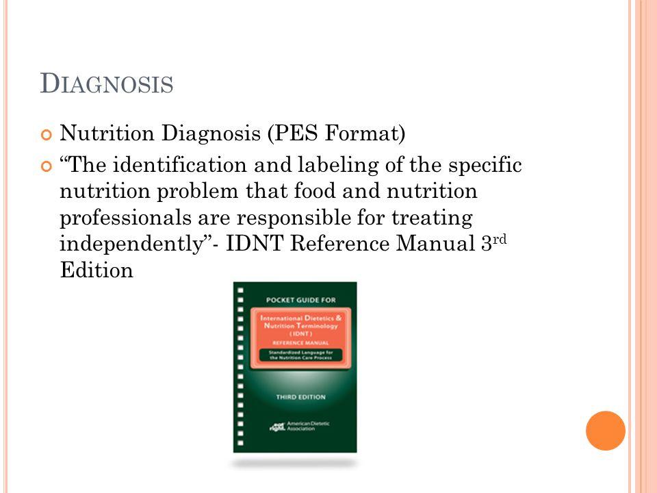 Diagnosis Nutrition Diagnosis (PES Format)