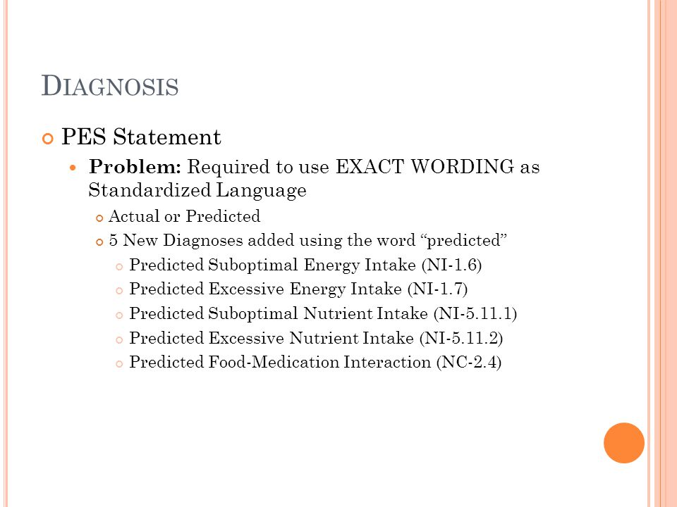 Diagnosis PES Statement