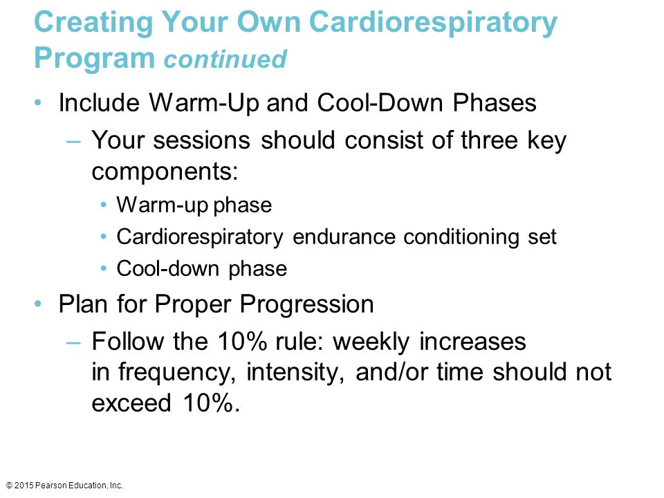 Creating Your Own Cardiorespiratory Program continued