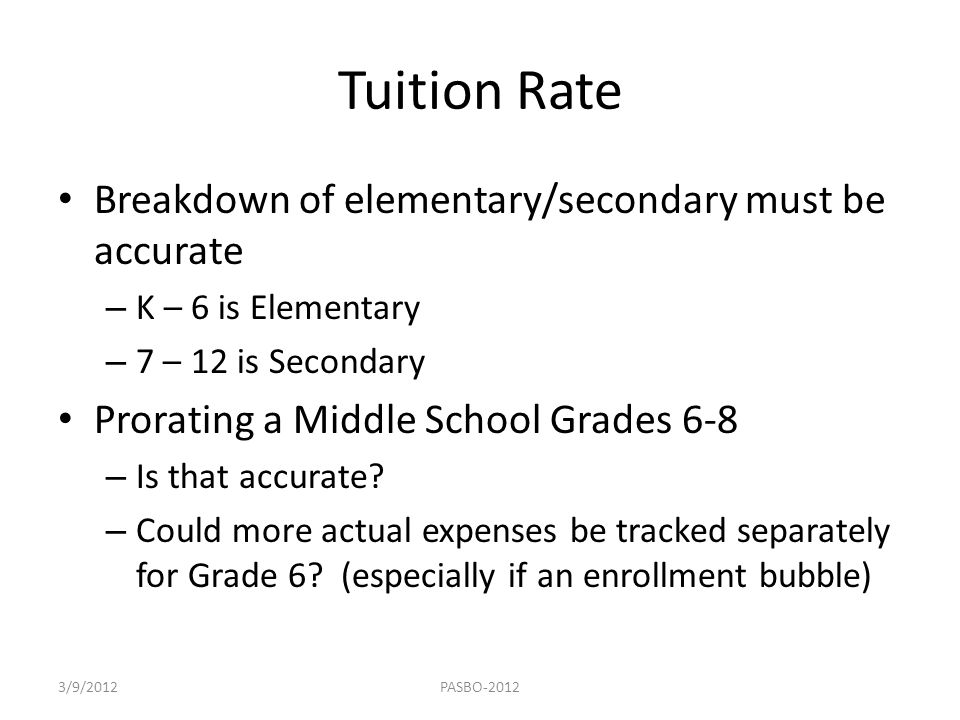 Tuition Rate Breakdown of elementary/secondary must be accurate