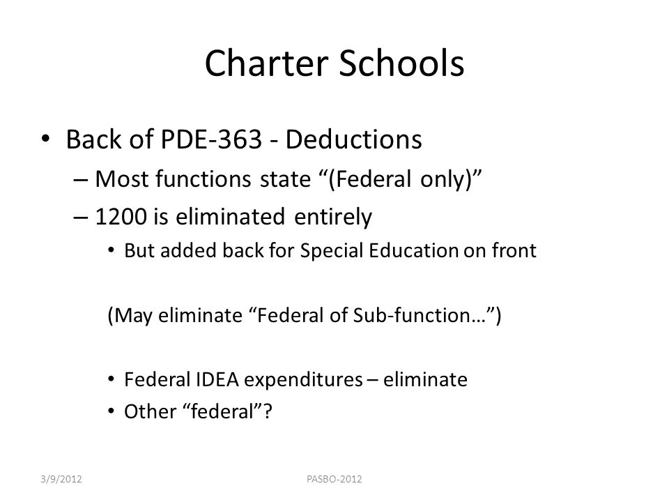 Charter Schools Back of PDE-363 - Deductions