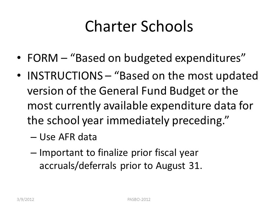 Charter Schools FORM – Based on budgeted expenditures