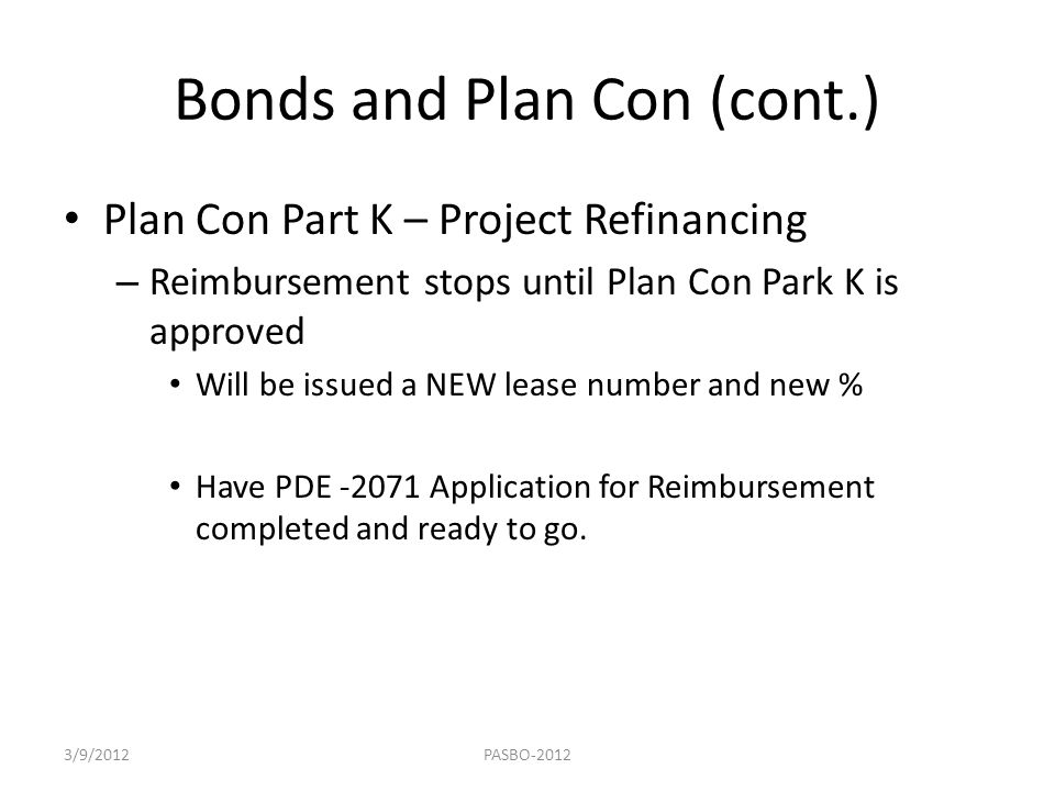 Bonds and Plan Con (cont.)